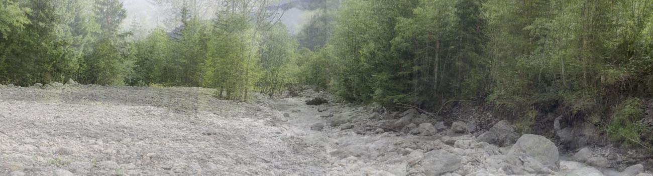 Tour du Mont-Blanc 2014, Vídeo-instalação, 4K Ultra HD, Cor, 42' Dupla projecção sobre madeira,  (2x) 185 x 340 cm